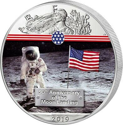 50 Years Moon Landing First Man on the Moon - 1 Dollar USA 2019 Silver, Colour