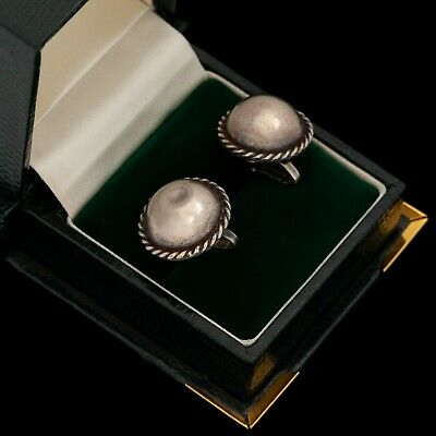 Antique Vintage Deco Retro Sterling Silver Mexican Taxco Concho Bead Earrings