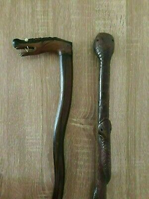 Vintage Hand Carved Wood Walking Sticks, Wavy Oriental Dragon, Wrapped Snakes