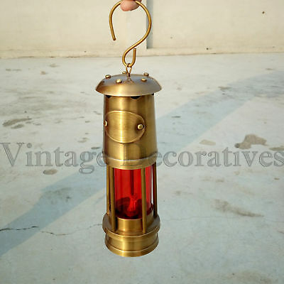 Brass Miner Lamp Vintage Ship Lamp Oil Lamp Red Glass Item.