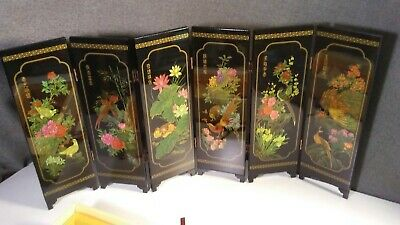 """Vintage Chinese Black Lacquer Wood Bird Flower Art 18"""" Panel Screen Divider deco"""