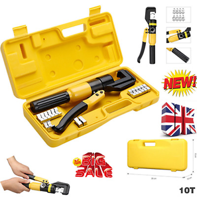 10 Ton Hydraulic Crimper Crimping Force Tube Terminal Lug Cable Wire Tool 8 Dies