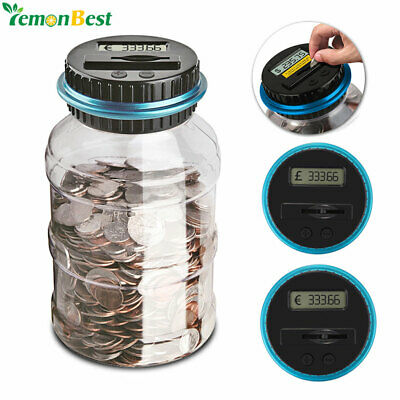 Electronic Jar Piggy Bank Automatic Digital Money Counting Coin Saving Counter