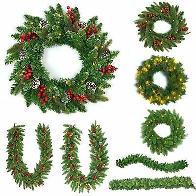 Pre Lit Decorated Christmas Wreath Garland Xmas Wall Door Decorations Home Decor