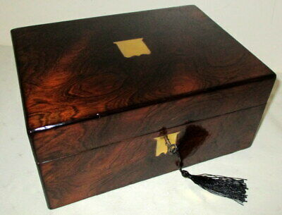 HANDSOME VICTORIAN FIGURED ROSEWOOD & BRASS BOX with key