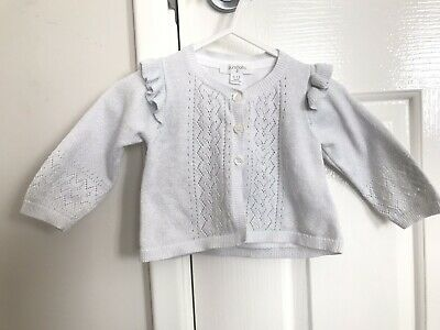 Size 0 Baby Girls PUREBABY Organic Cotton White Cardigan With Silver Threading