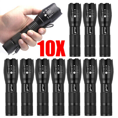 LOT LED Flashlight Torch T6 Tactical Military 50000lm Zoomable 5 Mode for 18650