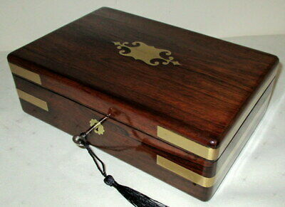 STUNNING SMALLER SIZE EARLY VICTORIAN INLAID ROSEWOOD DESK TOP BOX with key