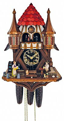Cuckoo Clock Black Forest house with moving beer drinker an.. SC 8TMT 1021/9 NEW