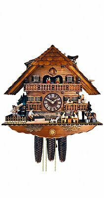 Cuckoo Clock Black Forest house with moving beer drinkers a.. SC 8TMT 1019/9 NEW