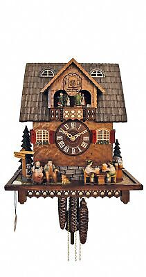 Cuckoo Clock Black Forest house with moving beer drinkers SC MT 190/9 NEW