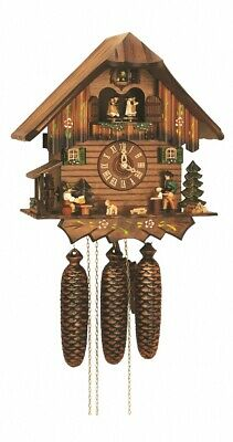 Cuckoo Clock Black Forest house with moving beer drinkers .. SC 8TMT 5407/10 NEW