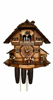 Cuckoo Clock Black Forest house brewhouse with moving beer .. SC 8TMT 1383/9 NEW