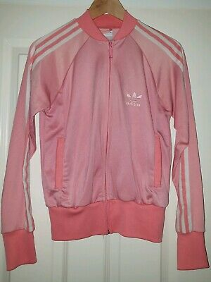 Women's Pink White Size 10 Adidas Tracksuit Top Jacket