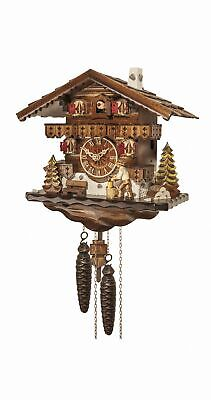 Cuckoo Clock Black Forest house with moving wood chopper EN 4581 NEW