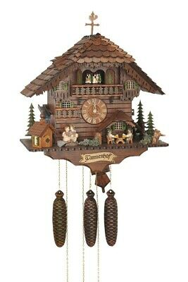 Cuckoo Clock moveable kissing Couple, 2 Beer Drinkers SC 8TMT 1555/9 NEW