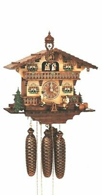 Cuckoo Clock Black Forest House, 2 Beer Drinkers SC 8TMT 267/9 NEW