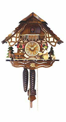 Cuckoo Clock Black Forest house with moving wood chopper EN 4162 NEW