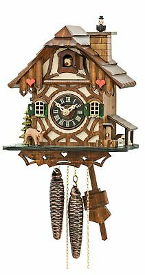 Cuckoo Clock Black Forest house with moving chimney sweep  EN 4130 NEW