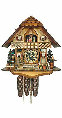 Cuckoo Clock Black Forest house with moving beer drinkers a.. SC 8TMT 2555/9 NEW