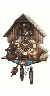 Cuckoo Clock Black Forest house with moving beer drinker and mil.. EN 464 MT NEW