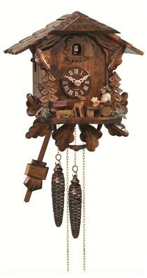 Cuckoo Clock Black Forest house with moving beer drinker EN 434 NEW
