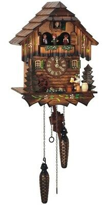 Quartz Cuckoo Clock Black Forest house with moving beer drink.. SC Q 5403/10 NEW