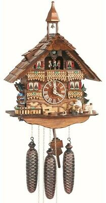 Cuckoo Clock Black Forest house with moving wood chopper an.. SC 8TMT 6445/9 NEW