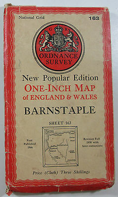 1946 OS Ordnance Survey one-inch CLOTH Map New Popular Edition 163 Barnstaple