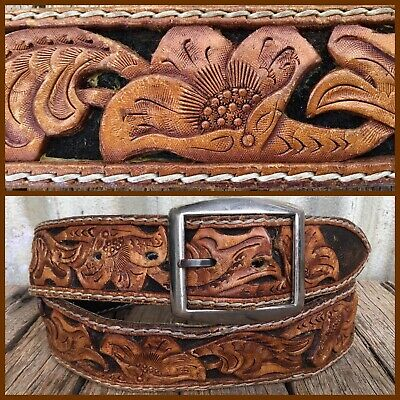 VINTAGE Tan HAND TOOLED LEATHER BELT Western BOHO Retro