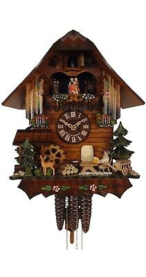 Cuckoo Clock Black Forest house with moving beer drinker, Deer 4.0443.01.C NEW