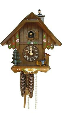 Cuckoo Clock Black Forest house with moving chimney sweep  SC 7063/10 NEW