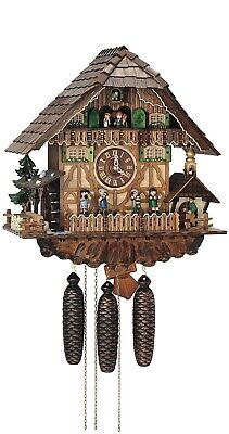 Cuckoo Clock Black Forest house with moving bell ringer and.. SC 8TMT 1373/9 NEW