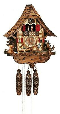 Cuckoo Clock Black Forest house with children on a see-saw .. SC 8TMT 2683/9 NEW
