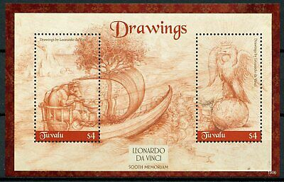 Tuvalu 2019 MNH Leonardo Da Vinci Drawings 500th Memorial 2v S/S Art Stamps