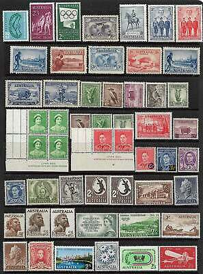 AUSTRALIA PRE-DECIMAL 52 STAMPS A VALUABLE GROUP many NHM / Fine Mint No Reserve
