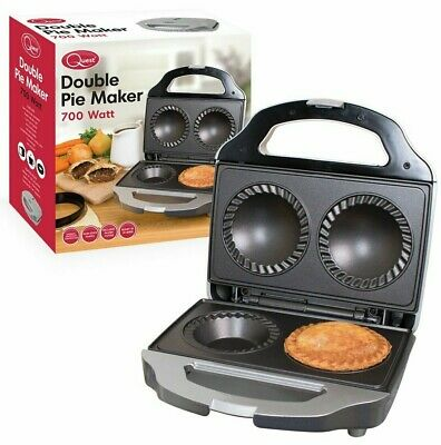 Twin Double Pie Non Stick Electric Sweet or Savoury Maker with Crimping & Pastry