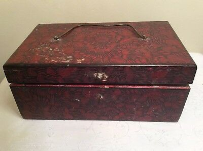 Antique Wooden Hand Painted Floral Storage Jewelry Box Handle India