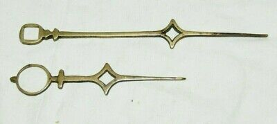 Pair Of Antique Solid Brass Longcase Clock Hands (140mm & 90mm)