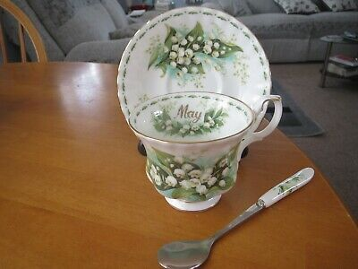 Royal Albert Flower Of The Month May Lily Of The Valley Cup/Saucer 1St/Free Spoo