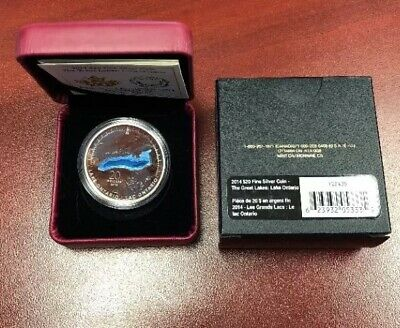 2014 $20 Fine Silver Coin Great Lakes Lake Ontario Royal Canadian Mint