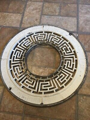 "ANTIQUE VINTAGE CAST IRON HEAT VENT GRATE 16""Inch Round Register"