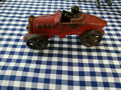 Vintage Antique 1920's Cast Iron Red Racer Car Whit Driver