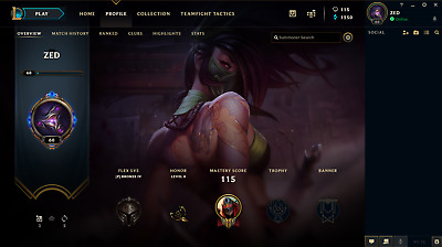 League of Legends NA account (account name ZED),  Level 60, 38 champions
