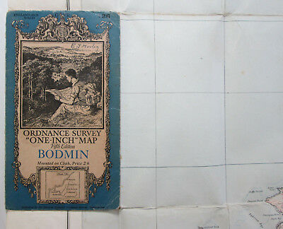 1933 Old Vintage OS Ordnance Surve One-Inch Fifth Edition Map 136 Bodmin