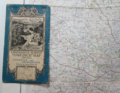 1932 Old OS Ordnance Surve One-Inch Fifth Edition Map 137 Tavistock & Okehampton