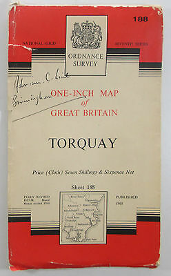 1961 old vintage OS Ordnance Survey Map Seventh Series Sheet 188 Torquay