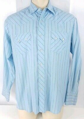 Wrangler Shirt Long Sleeve Button Up Pearl Snaps Rodeo Western Cowboy Sz Large L