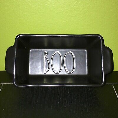 "New RAE DUNN Halloween LL ""BOO"" Small Mini Black Baking Dish Loaf Pan By Magenta"