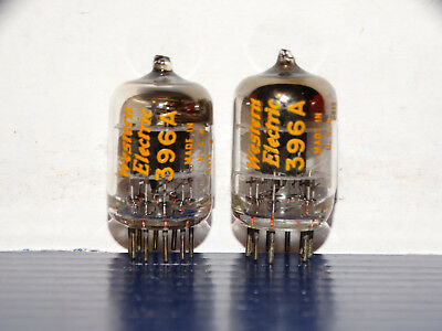 2 - Western Electric 396A(2C51)Tubes*Black Plate*D-Getter*Very Strong Pair*1968